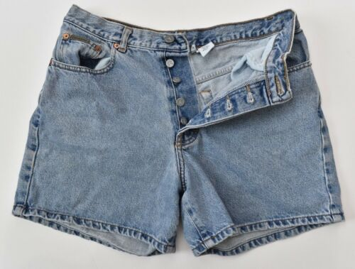 Vintage Calvin Klein High Waist Easy Fit Button Fly Light Denim Mom Shorts 11