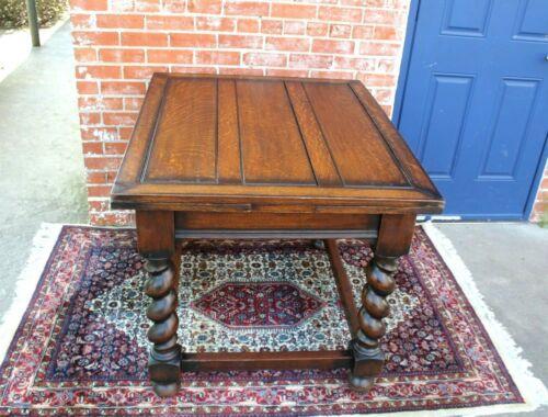 English Antique Oak Jacobean Barley twist  Draw Leaf Kitchen Table