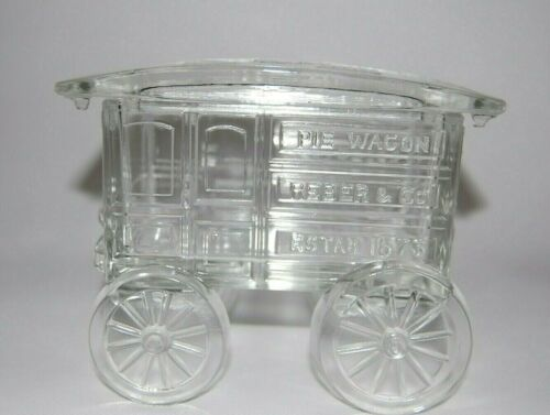 Vintage Imperial Glass Clear Glass Covered Pie Wagon & Lid Candy Nut Dish