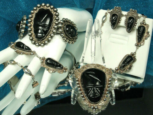 AZTEC WARRIOR MASK Set 1930s Iguala Mexico 128g STERLING Silver & ONYX 3 Pieces