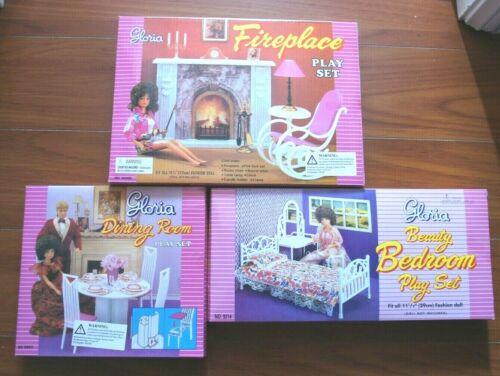 Combo GLORIA DOLLHOUSE FURNITURE Beauty Bedroom (9314)+Dining(94011)+Fireplace