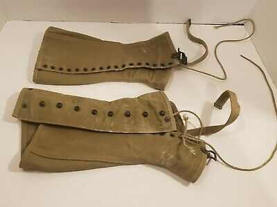 Spats, Gaiters, Puttees – Vintage Shoes Covers Vintage WWII Original US Army Canvas Leggings MW2964  2R Military  $29.99 AT vintagedancer.com