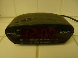 Classic Sony Black ICF-C211 AM/FM Clock Radio Large LED Red Time