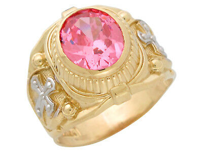 Pink Tourmaline Mens Ring - 10k or 14k Gold Mens Simulated Pink Tourmaline October Birthstone Religious Ring