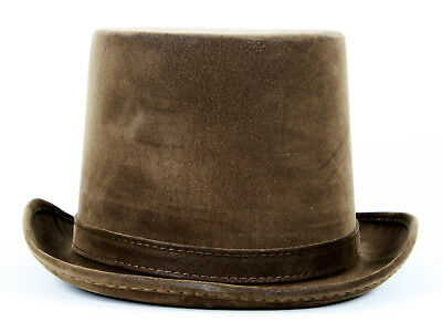 Mens Faux Leather Steampunk Victorian Weathered Look Top Hat Costume Adult Brown
