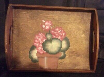 VINTAGE CARRYING TRAY w/FLOWERS