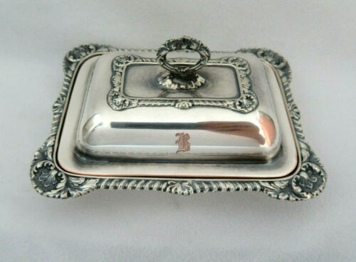 """Vintage Silver Plated Butter Serving Box ~ Mono """"B"""""""