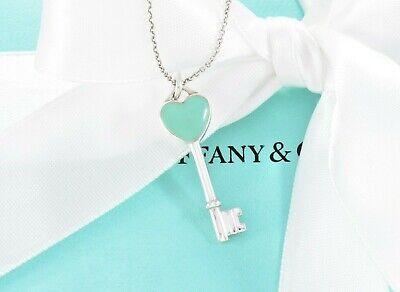 Tiffany & Co.Sterling Silber Blau Emaille Herz Schlüsselanhänger 16