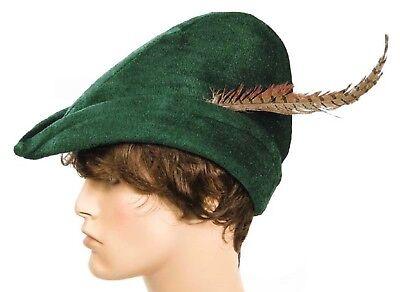 Men's ROBIN HOOD Nottingham Green Medieval Renaissance Costume HAT Women's Adult