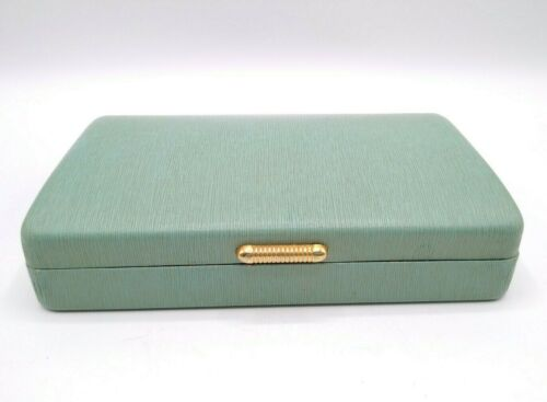Green Mid-Century Vintage Jewelry Box Pink Satin & Velvet Interior