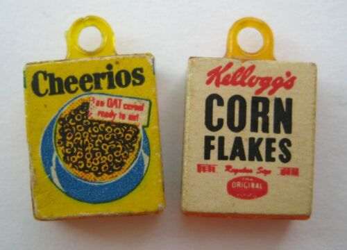 VINTAGE Plastic CEREAL BOX Gumball Charms Prize CORN FLAKES~CHEERIOS