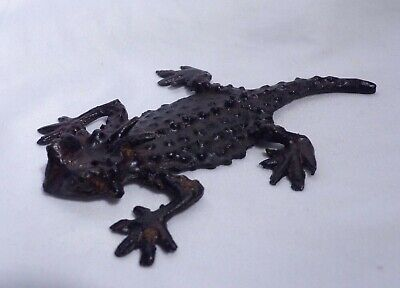 Horned Toad Horny Toad Horned Lizard 5 Inch Metal Figurine or Paperweight HEAVY