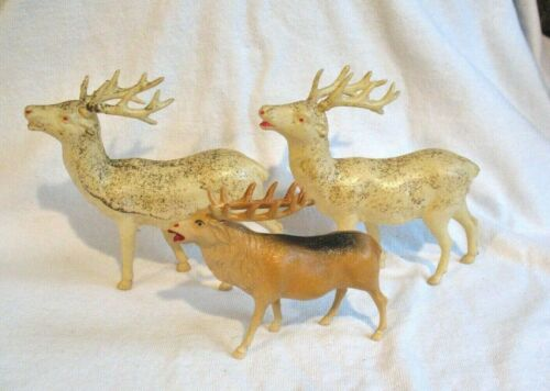 VINTAGE CELLULOID REINDEER LOT OF 3  2 ARE JAPAN AND 1 IS UNITED STATES