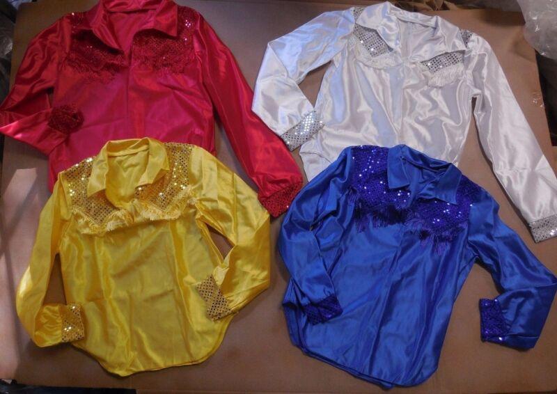 NWT Fringed Dance Costume Cowboy Shirt SequinYoke cuffs Satinette Western longSL