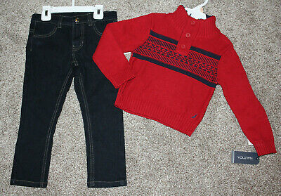 Nautica Toddler Boy Red Navy Sweater Jeans Set Winter Pants Outfit Size 2T NWT