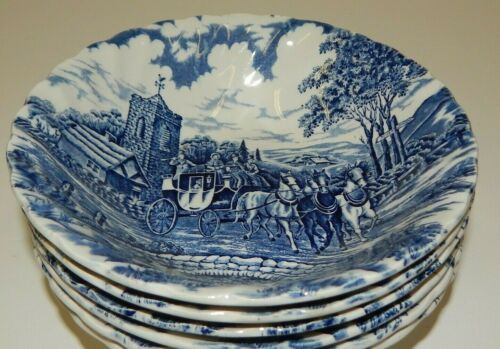 "Myott Royal Mail Blue Staffordshire England 6-1/4"" Cereal Bowls"