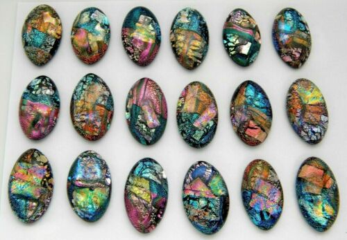 OVAL MULTI COLORS 18 pcs DICHROIC FUSED GLASS pendant earrings (i10) CAB MOSAIC