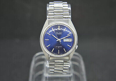 Beautiful Vintage Seiko 7009 8270 Blue Dial Automatic Bracelet Watch May 1989