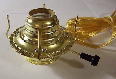 #2 OIL KEROSENE LAMP BRASS PLATED ELECTRIC BURNER CLEAR GOLD CORD SET 70160J