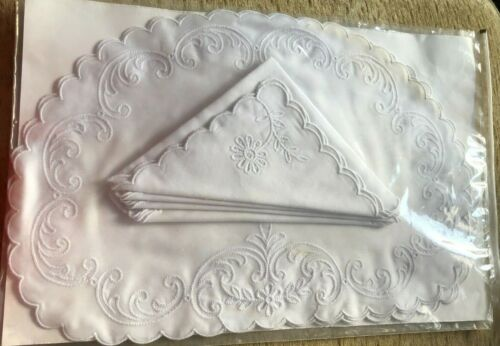 Vintage Irish Embroidered White Set 12 Placemats & 8 Napkins 1/2 Round Scalloped