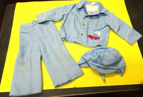 Vintage 1970s Era Chandler Original Baby Boys 3pc Outfit w/ Hat-(12 Months)Used