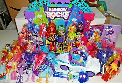 Large Lot of My Little Pony Equestria Girls Dolls outfits accessories Stage car