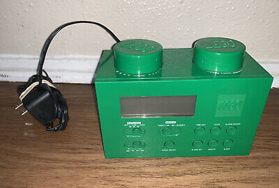 GREEN LEGO ALARM CLOCK Radio Child's Room Building Brick Blocks Toys Kids