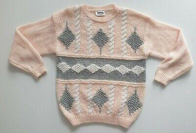 80s Sweatshirts, Sweaters, Vests | Women Vintage Pink Oversized Chunky Knit Geometric Jumper Size Medium $29.69 AT vintagedancer.com