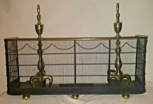 Antique Fireplace Brass Iron Screen Fender with Andirons