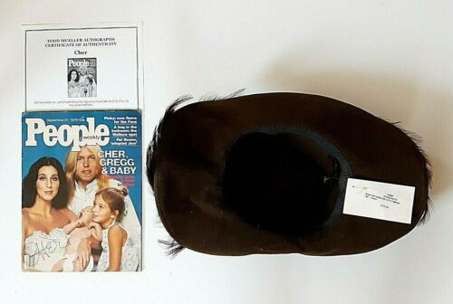 CHER PERSONALLY OWNED WORN COWBOY HAT WITH FEATHERS AND SIGNED MAGAZINE W COA