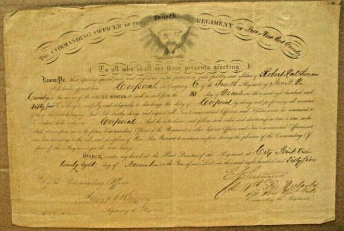 CIVIL WAR  COLONEL EDWIN SUMNER JR CAVALRY COMMISSION SIGNED