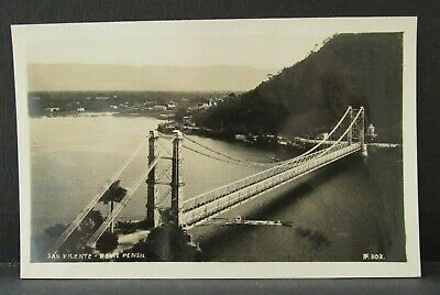 1920-30s SAO VICENTE BRAZIL Real Photo PC by Preising, Ponte Presil - Bridge