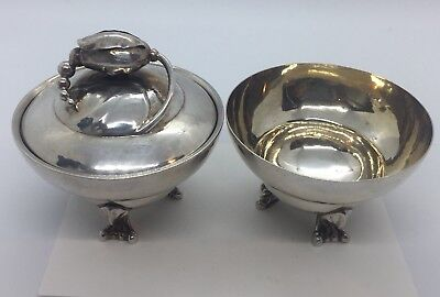 Georg Jensen Denmark Antique Sterling Silver Blossom Pair Sugar Bowls