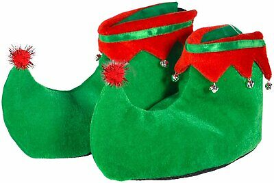 Skeleteen Red Green Elf Shoes - Red and Green Velvet Holiday Elf Feet Shoes