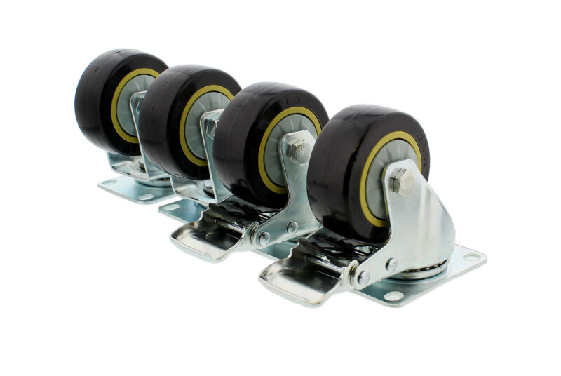 "Clearance- ABN Swivel Plate Caster Wheels 4"" Set of 4 Furniture and Equipment"