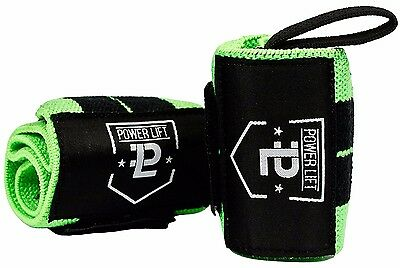 Wrist Wraps for Weightlifting/Crossfit/Powerlifting/Bodybuilding Black/Green