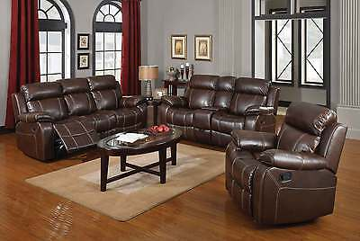 BROWN BASEBALL STITCH LEATHER RECLINING MOTION SOFA LOVESEAT FURNITURE SET