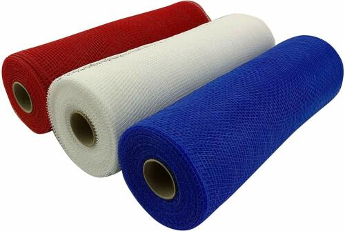 """Red White Blue Deco Mesh - 10"""" x 10 Yards, Set of 3 Rolls, 4th of July, USA"""