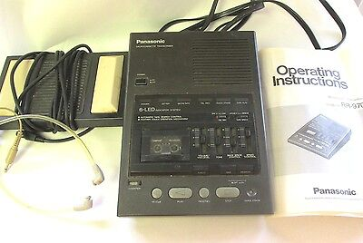 Panasonic Microcassette Transcriber RR970 w Foot Pedal Earphones Parts or Repair