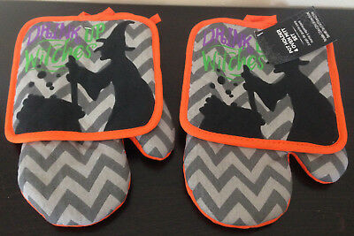 Halloween Drink With Witches Witch Pot Holders & Oven Mitts~Orange Gray Chevron](Halloween Oven Mitts)