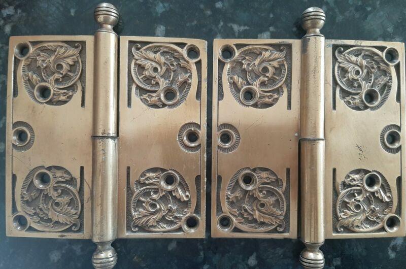 """Antique Victorian Door Hinge Set Large 5"""" x 5"""" Hinge Beastie 1890s Brass Hinges"""