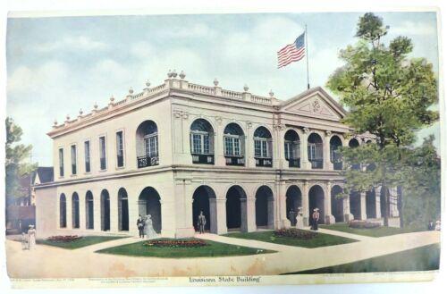 St Louis Worlds Fair Calendar Print Louisiana State Building 1904 Globe Democrat