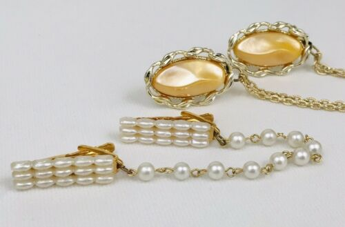 Set 2 Vintage Gold Thermoset & Faux Pearl Sweater Clip Guard Collar Clip