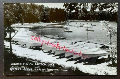 Aquatic Fun on BRITTON LAKE, GERBER SCOUT RESERVATION, MI postcard RPPC, 1960