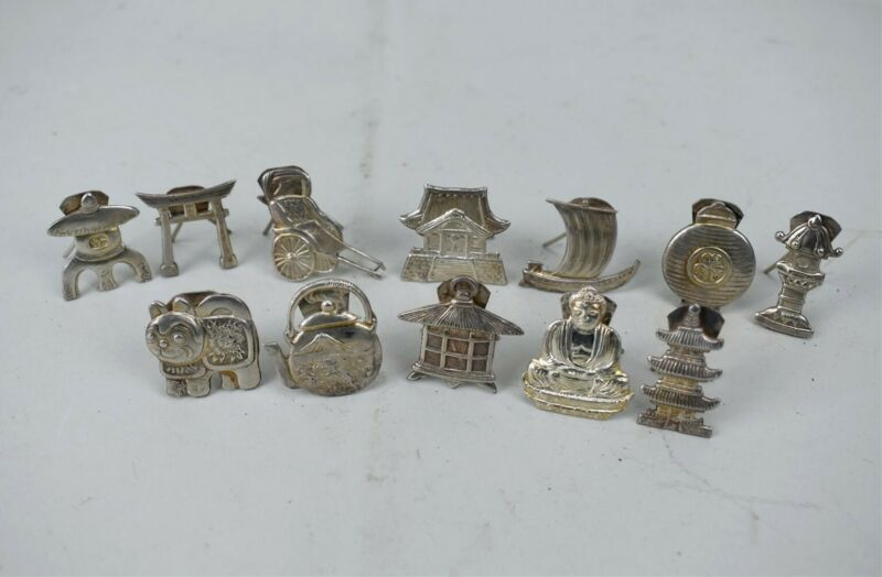 950 Sterling Silver Table Figural Place Card Japanese Set of 12 Antique
