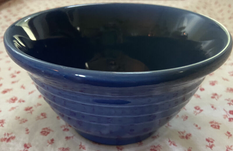 "Vintage HENN Pottery Small Ribbed Cobalt Blue Jewelware Mixing Bowl 6.25"" - EUC"