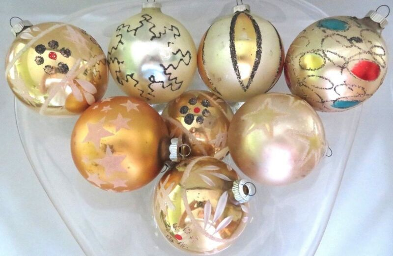 "LOT OF 8 VTG LARGE W GERMANY 3"" MERCURY GLASS XMAS ORNAMENTS, STENCIL MICA"