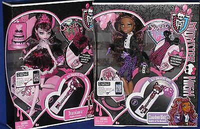 MONSTER HIGH CLAWDEEN & DRACULAURA Sweet 1600 Birthday dolls w Key APP iPOD  (Monster High Draculaura 1600 Birthday)