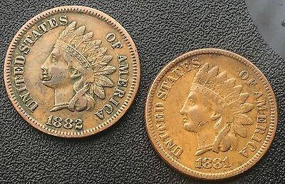 1881 & 1882 INDIAN HEAD CENTS DECENT MID  GRADE COINS