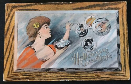 Pretty Lady with Bubbles~Witch~Cat ~Pumpkin~Antique 1909 Halloween Postcard~h198